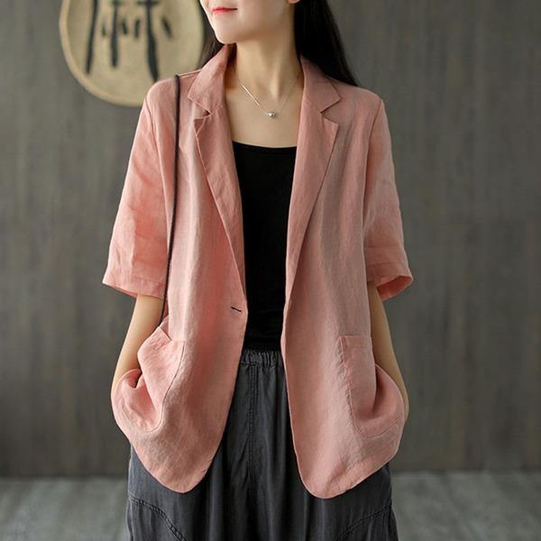 2020 Summer New Cotton Linen Comfortable All-match Women Coat