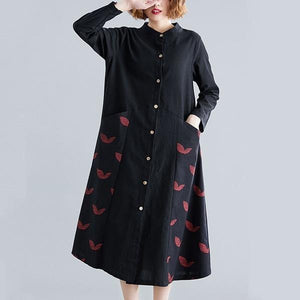 long sleeve cotton linen plus size vintage women casual loose spring autumn shirt dress