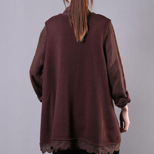 Load image into Gallery viewer, diy chocolate cotton Blouse v neck sleeveless Art spring top