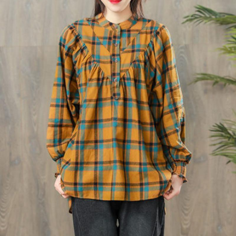 diy cotton clothes yellow For Women boutique Women Spring Vintage Pleated Plaid Pullover Shirt