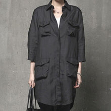Load image into Gallery viewer, diy four pockets cotton lapel collar Blouse Wardrobes black top