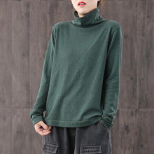 Load image into Gallery viewer, diy high neck cotton blouses for women Tunic Tops green shirt