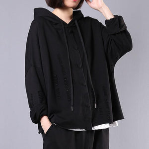 diy hooded Hole cotton spring clothes For Women Fabrics black tops