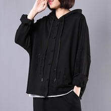 Load image into Gallery viewer, diy hooded Hole cotton spring clothes For Women Fabrics black tops