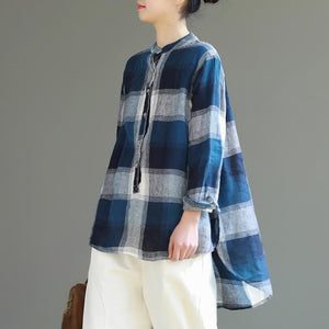 diy stand collar Button Down cotton Long Shirts 2019 pattern blue gray Plaid Knee shirt
