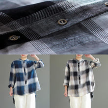Laden Sie das Bild in den Galerie-Viewer, diy stand collar Button Down cotton Long Shirts 2019 pattern blue gray Plaid Knee shirt