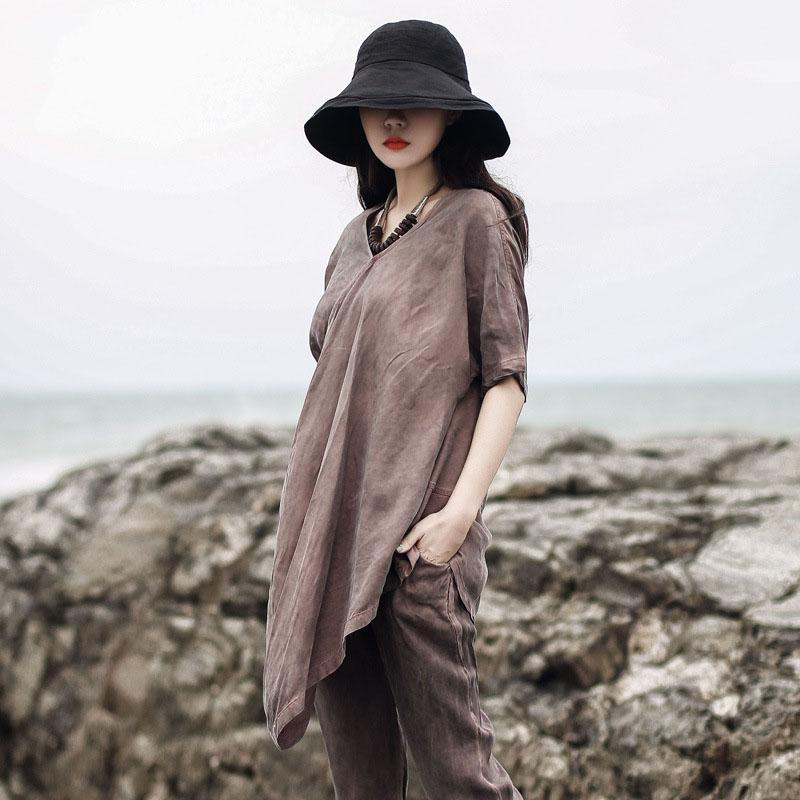 diy v neck asymmetric Blouse Neckline brown blouse summer