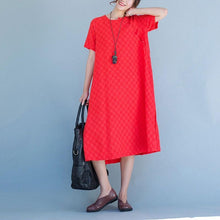 Load image into Gallery viewer, Women  cotton linen short sleeve dress