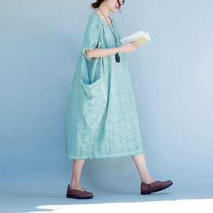 Women short sleeve Cotton linen dress