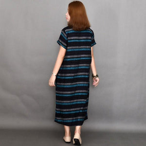 Women summer short sleeve stripe cotton dress