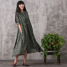Load image into Gallery viewer, Women summer short sleeve irregular loose linen dress