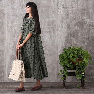 Women summer short sleeve irregular loose linen dress