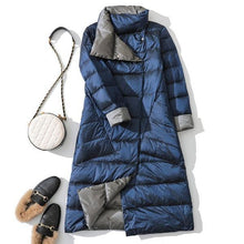Load image into Gallery viewer, Long White Puffer Parka Coat Female Winter Down Jacket Women Padded Double Wear Snow Down Coat