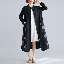 Load image into Gallery viewer, long sleeve cotton linen plus size vintage women casual loose spring autumn shirt dress