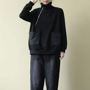 Solid Color Casual Sweatshirt Turtleneck Zippers Patchwork Pocket Black All-match Women Loose Top