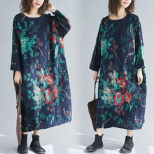 Load image into Gallery viewer, long sleeve cotton linen plus size Oversized vintage floral women casual loose autumn elegant dress clothes