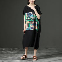 Laden Sie das Bild in den Galerie-Viewer, Black Printing Loose O-Neck Casual Dress