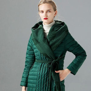 Winter Women Solid Color Down Belt Hodded Coats Casual Warm New Female Pockets High Quality Coats