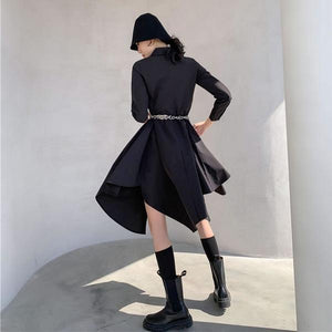 Casual Fashion Women Autumn and Winter New Black Loose Personality All-match