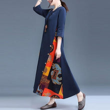 Load image into Gallery viewer, Plus Size Women Cotton LinenPrint Loose Female A-line Dresses