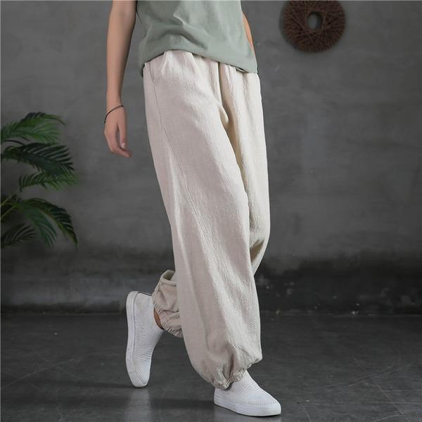 Loose Ramie Elastic Waist Pants Loose Vintage Solid Color Trousers