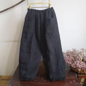 Women Thick Wide Leg Pants Elastic Waist Linen Vintage Female Pants