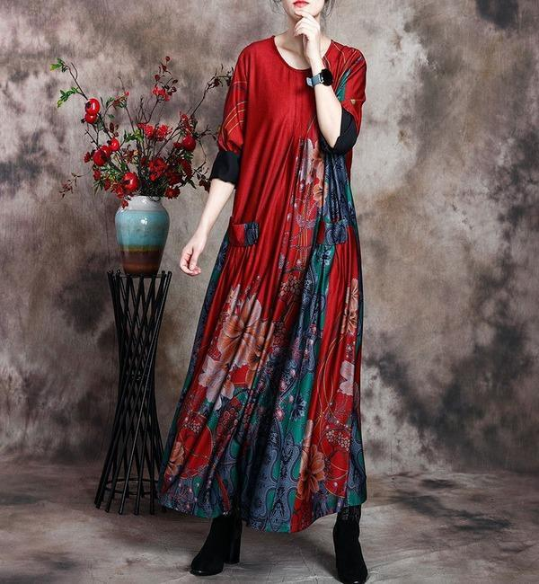 Women Loose Printed Dress Ladies Wrinkle Plus Size Dress
