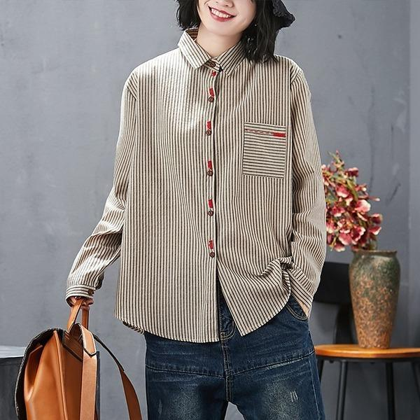 cotton linen autumn vintage stripe korean style plus size Casual loose shirt women blouse 2020 clothes ladies tops streetwear