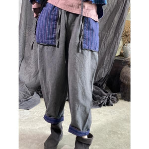 Elastic Waist Vintage Pants Ladies Vintage Flax Trousers