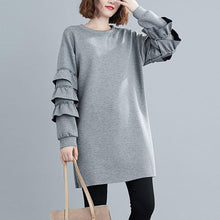 Load image into Gallery viewer, Women Loose Casual Dress New Arrival 2020 Autumn Simple Style O-neck Solid Solid Color Dresses