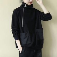 Load image into Gallery viewer, Solid Color Casual Sweatshirt Turtleneck Zippers Patchwork Pocket Black All-match Women Loose Top