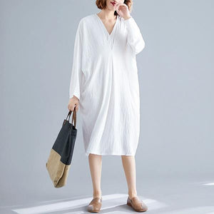 omychic plus size oversize cotton linen vintage for women casual loose midi autumn dress