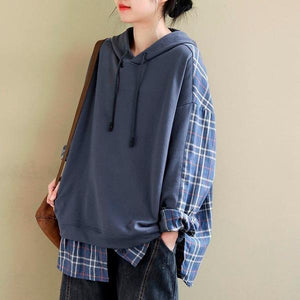 Style Plaid Patchwork Female Hooded Pullovers