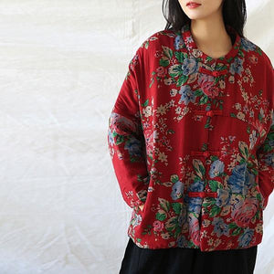 Women Vintage Print Floral Parkas Red Stand Long Sleeve Winter Coats  Warm Parkas Coats