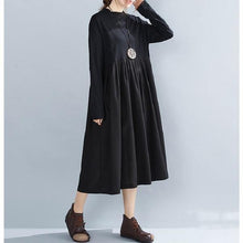 Load image into Gallery viewer, omychic plus size black cotton vintage for women casual loose autumn winter dress