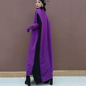 Patchwork Hit Color Dress Women 2020 Winter Casual Fashion  Style Temperament All Match V Neck  Women Clothes