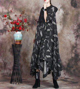 Patchwork Hooded Plus Size Dress Ladies Irregular Length Dress