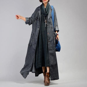 Women Trench Coat 2020 Fall Winter New Pockets Long Sleeve Blue Plus Size Trench