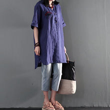 Load image into Gallery viewer, eyes window of the heart navy linen sundress plus size linen clothing