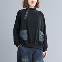 Load image into Gallery viewer, 2020 Autumn Korean Simple Style Stand Collar Loose Female Long Sleeve Cotton Tops