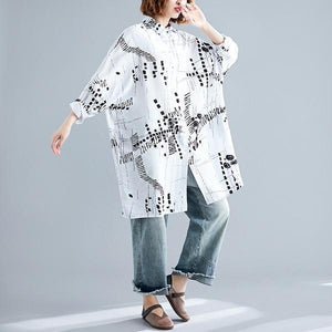 omychic autumn vintage print korean style plus size Casual loose shirt women blouse 2020 clothes ladies tops streetwear