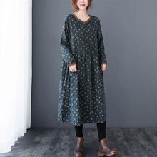 Load image into Gallery viewer, Vintage Print V-neck Loose Comfortable Female Long Dresses