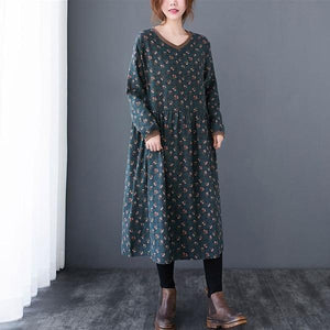 Vintage Print V-neck Loose Comfortable Female Long Dresses