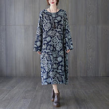 Load image into Gallery viewer, long sleeve plus size cotton linen vintage floral for women casual loose spring autumn dress