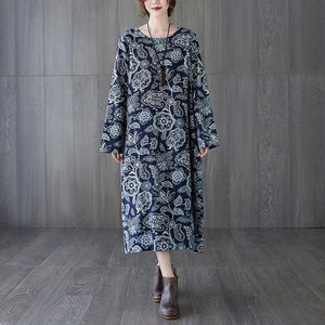 long sleeve plus size cotton linen vintage floral for women casual loose spring autumn dress