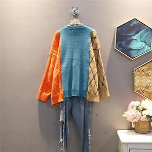 Women Patchwork Pleated Goddess Fan Full Sleeve 2020 Winter Elegant Loose Sweater
