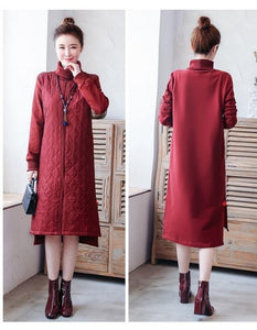 omychic plus size Padded cotton vintage for women casual loose midi autumn winter dress