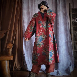 Loose Cotton Printed V Neck Padded Dress Ladies Vintage Robes Female