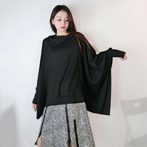 Women T-shirt Fashion Batwing Sleeve Solid Color Loose Pullover Top Winter Casual All-match Black Street Trendy
