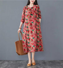 Load image into Gallery viewer, long sleeve cotton linen plus size vintage floral for women casual loose spring autumn dress